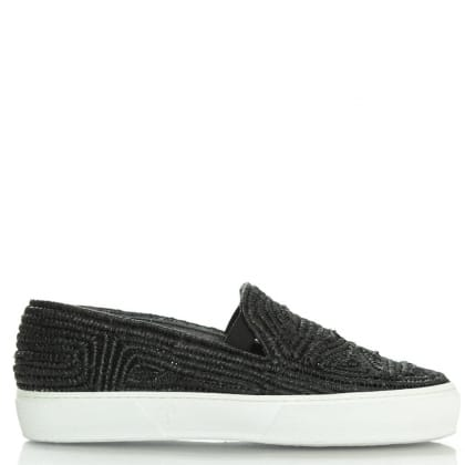 Tribal Black Raffia Slip On Pump