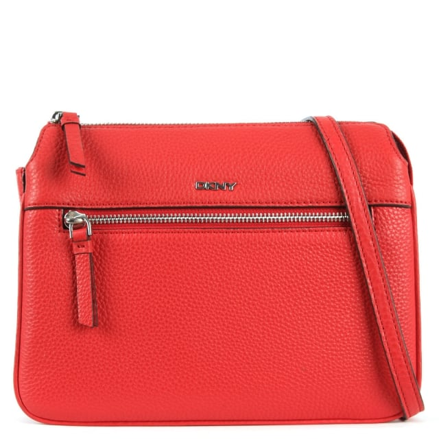 Tribeca Vermillion Leather Triple Compartment Cross-Body Bag