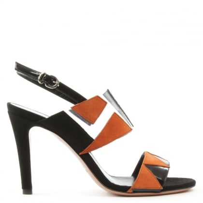 Trinity Black Leather & Suede Cut Away Sandal