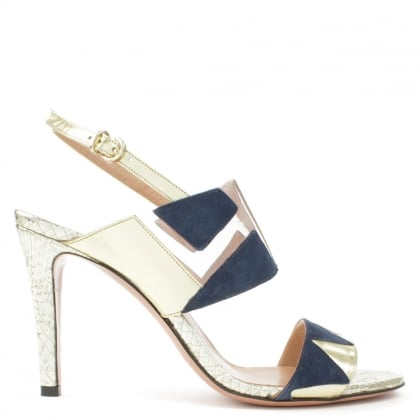 Trinity Navy Leather & Suede Cut Away Sandal