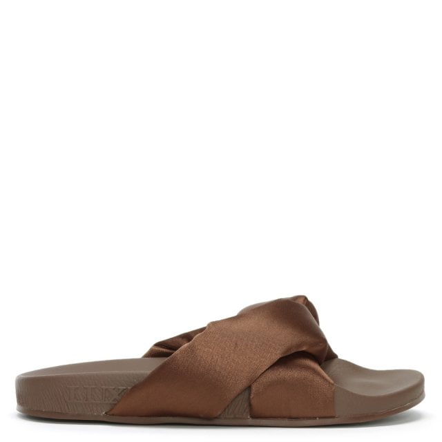 Trouble Brown Satin Cross Strap Sliders