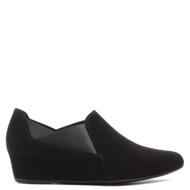 Trouser Black Suede Low Wedge Shoe