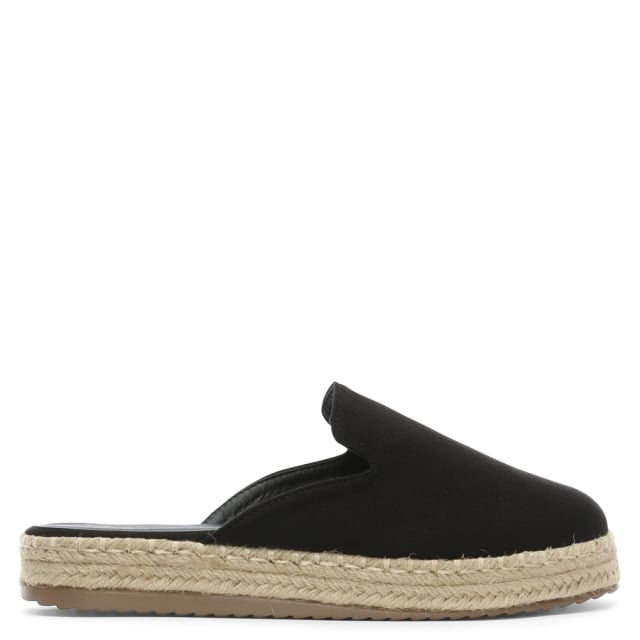 Troy Black Suedette Backless Espadrille Mules