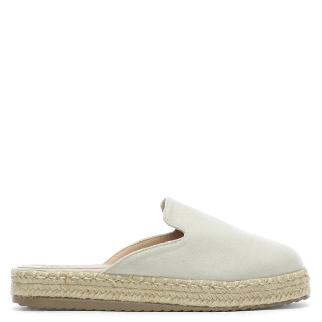 Troy White Suedette Backless Espadrille Mules