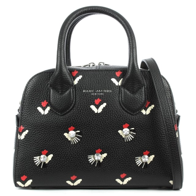 Tulip Small Black Leather Bauletto Bag