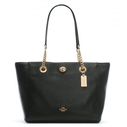 Turnlock Chain Black Leather Tote Bag
