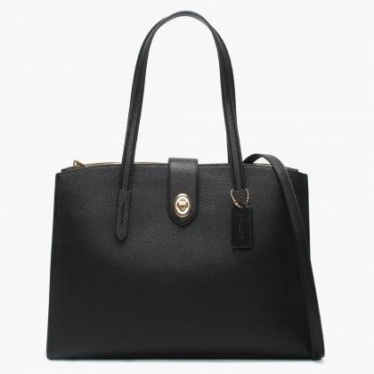 711d221c5c0214 Turnlock Charlie Black Leather Satchel Bag