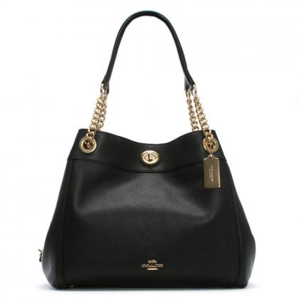 Turnlock Edie Black Polished Pebbled Leather Shoulder Bag