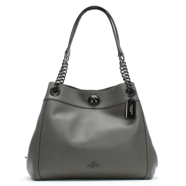 e3299b37eb75 Coach Turnlock Edie Heather Grey Polished Pebbled Leather Shoulder Bag