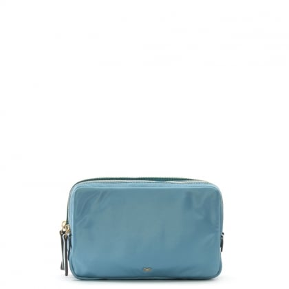 Turquoise Nylon Triple Stack Pouch