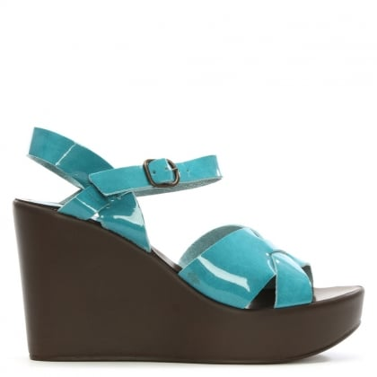 Turquoise Patent Leather Wedge Sandal