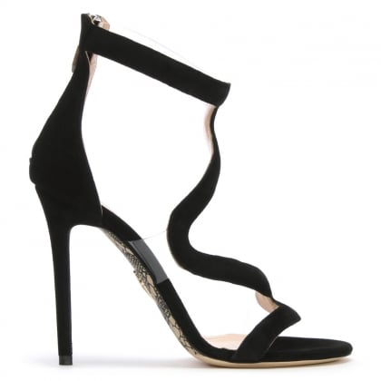 Twist Black Suede Perspex Insert Sandals