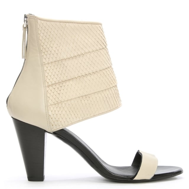 Tyra White Leather Reptile Cut Away Sandal