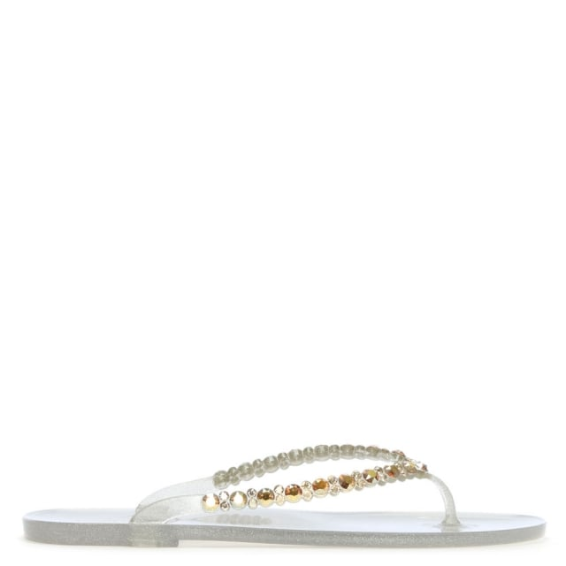 Tyrone Gold Diamante Embellished Toe Post Flip Flops