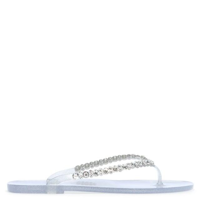 710de367094f6 Menghi Tyrone Silver Diamante Embellished Toe Post Flip Flops