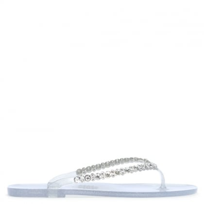Tyrone Silver Diamante Embellished Toe Post Flip Flops
