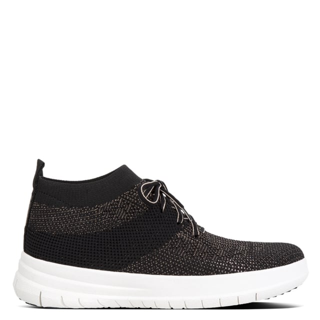 Uberknit Black Metallic Slip On High Top Trainers