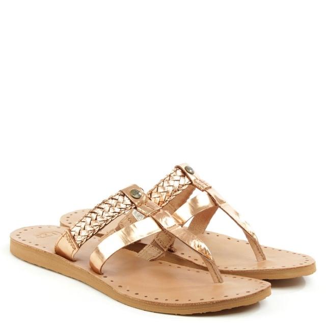 8e19b9c8b7d Audra Rose Gold Leather Toe Post Flip Flop