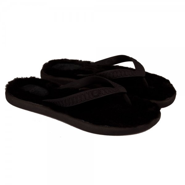 black ugg flip flops