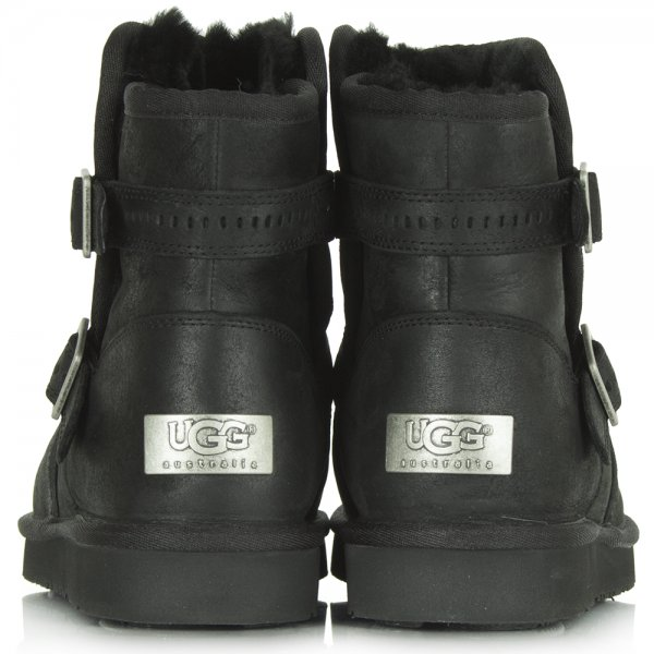 Black Leather Aiden Ankle Ugg Boot