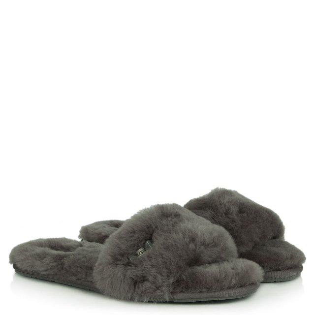 6e9f219b968 Fluff Slide Grey Sheepskin Slider Slipper