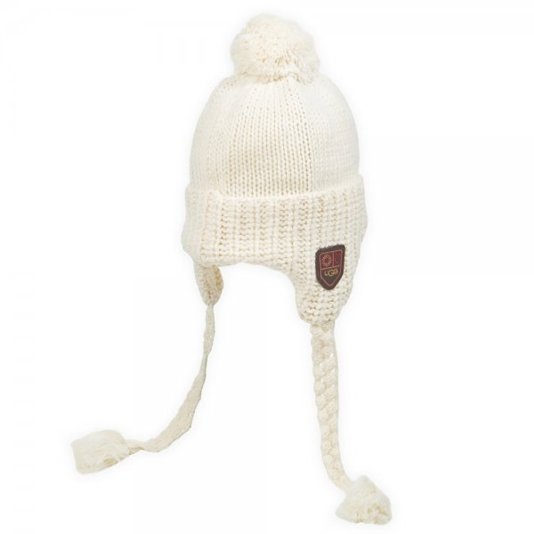 UGG® Cream Aviator Bobble Womens Knitted Hat - Hats + Ear Muffs from ... ec23a8ac84a