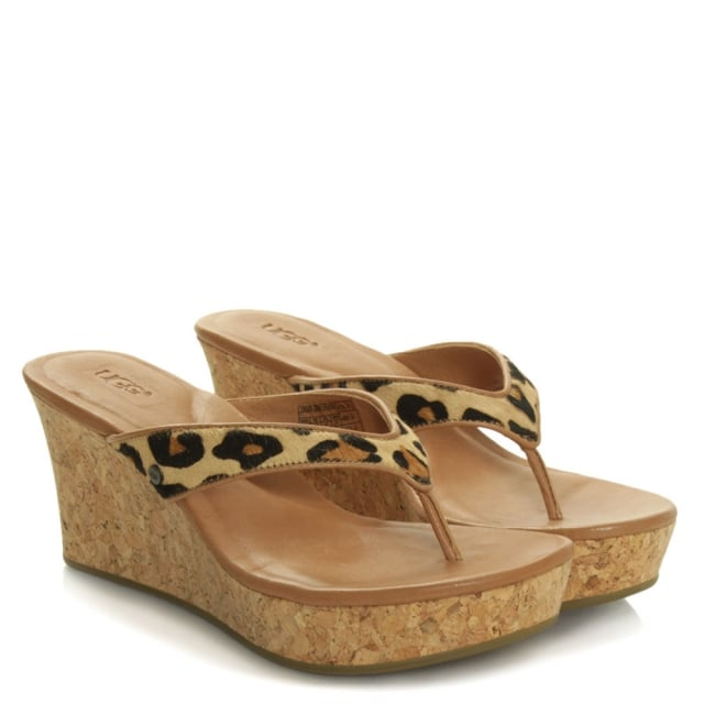 d0b66c04ab08 UGG® Leopard Calf Hair Natassia Mar Corked Wedge Sandal