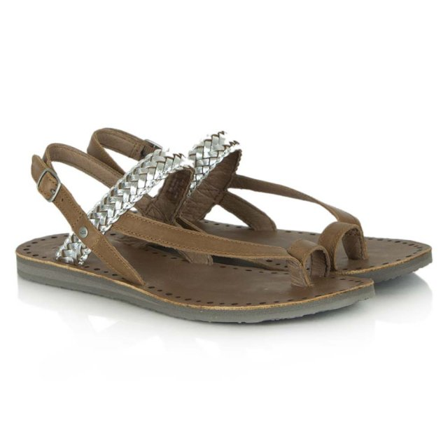 487006ed430342 Raee Ugg Silver Leather Flat Contrast Toe Post Sandal with Sling