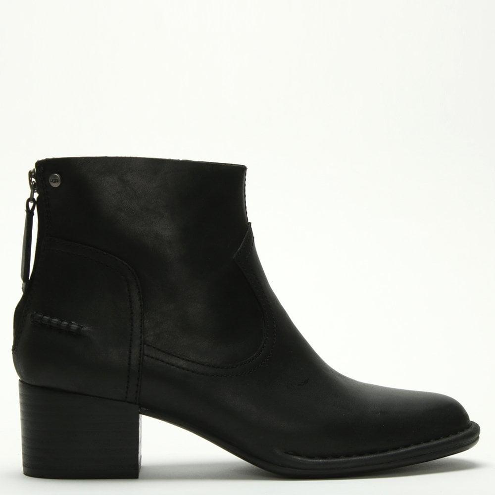 UGG Bandara Black Suede Leather Ankle Boots