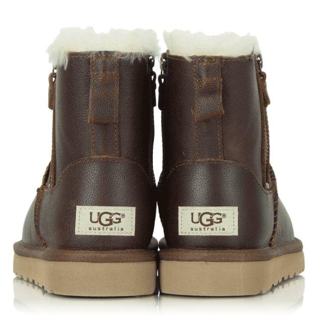 915ef781723 Classic Mini Zip Brown Leather Boot