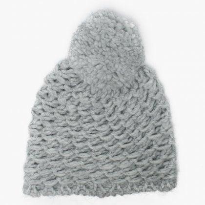d7abfeedc1d Women s Yarn Light Grey Pom Pom Beanie Hat