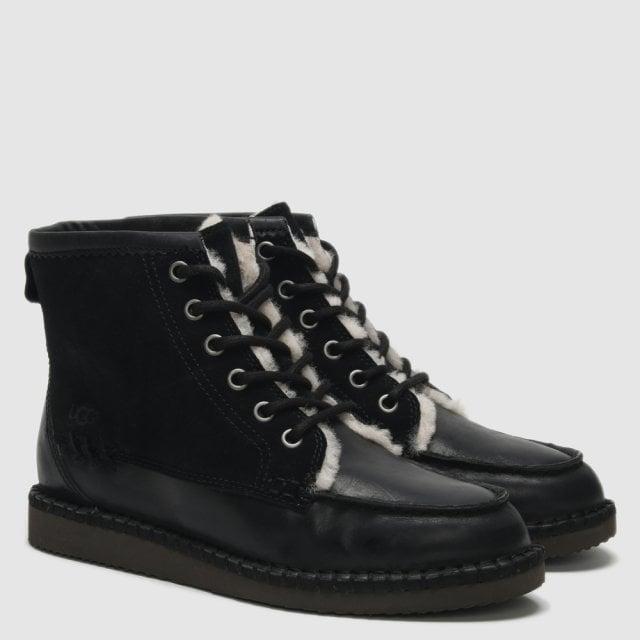 UGG Quinlin Black Leather \u0026 Suede Lace