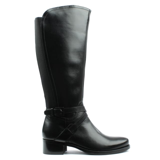 Ullswater Black Leather Strapped Knee Boot