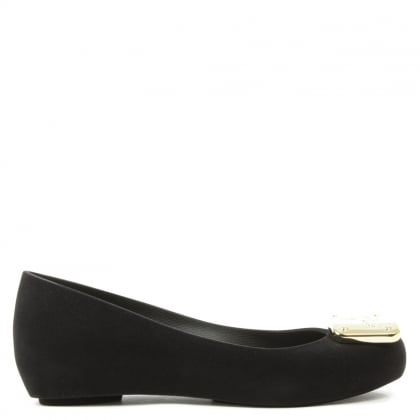Ultragirl Black Flocked Orb Ballet Pump