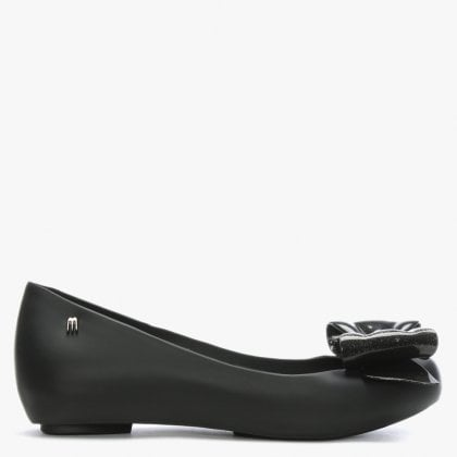 4c2b1377e71c Ultragirl Black Glitter Sweet Bow Ballet Flats