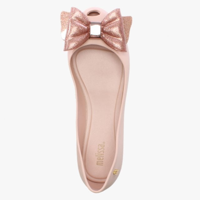 09074ba1bd7e Melissa Ultragirl Blush Glitter Sweet Bow Ballet Flats