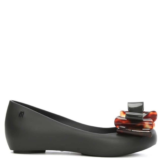 Ultragirl Triple Bow Black Ballerina Flat