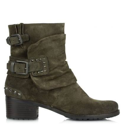 Union Green Suede Biker Boot