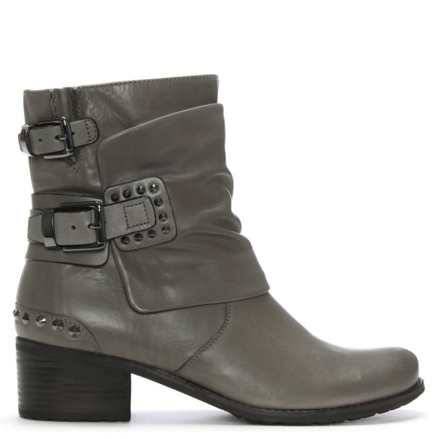 Union Grey Leather Studded Biker Boots