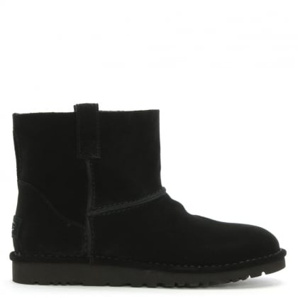 Unlined Mini Black Suede Boot