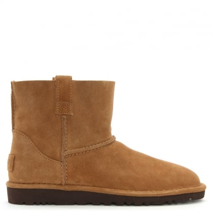 Unlined Mini Chestnut Suede Boot