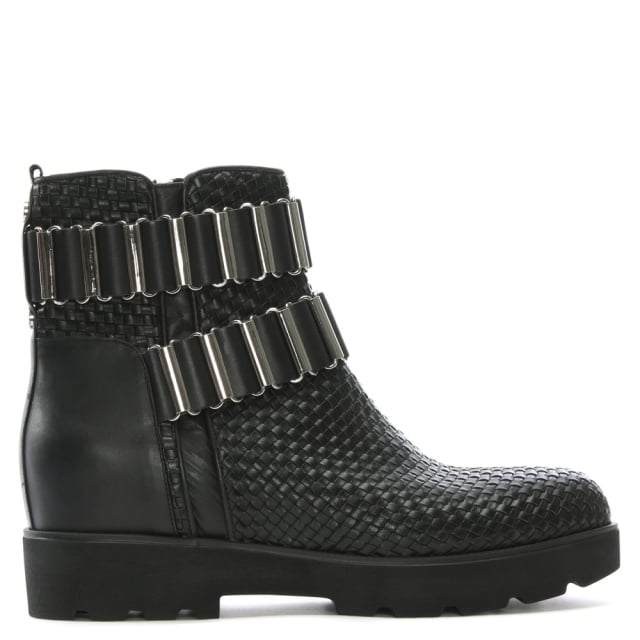 Vail Black Leather Woven Ankle Boots