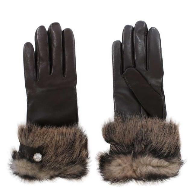 Ugg Leather Smart Gloves Brown