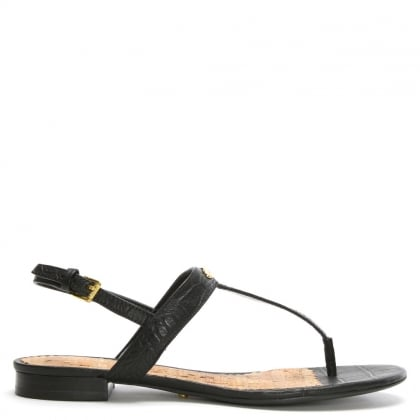 Valla Black Leather Reptile Thong Sandals