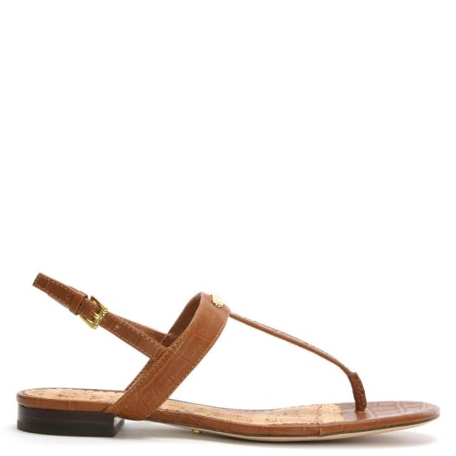 Lauren by Ralph Lauren Valla Tan Leather Reptile Thong Sandals