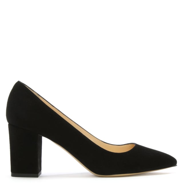 Vallie Black Suede Block Heel Court Shoe