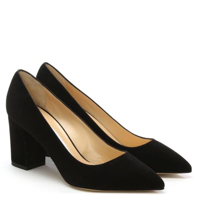 216e93f8c7 Vittorio Valsecchi Vallie Black Suede Block Heel Court Shoe