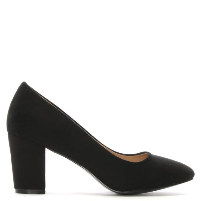 Vance Black Suedette Block Heel Court Shoes