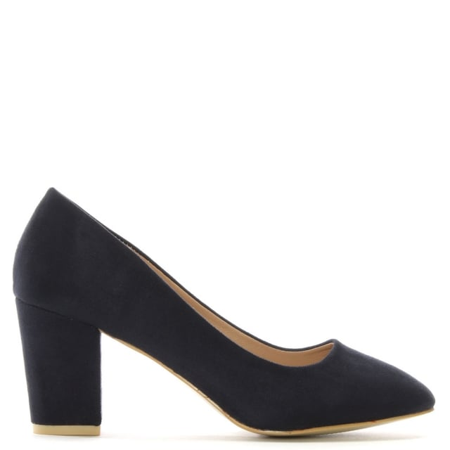 Vance Navy Suedette Block Heel Court Shoes