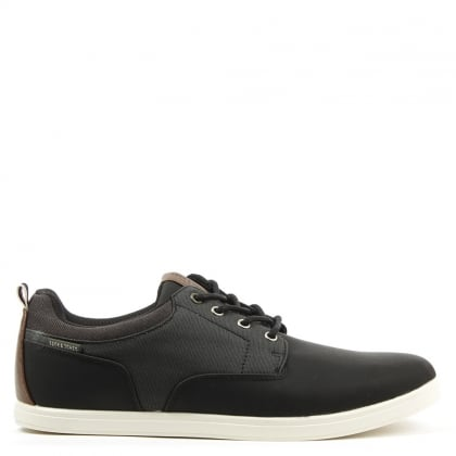 Vaspa Black Leather Contrast Lace Up Trainer